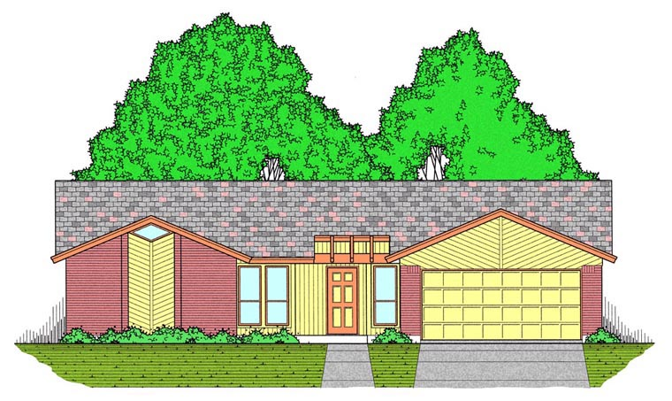 Contemporary House Plan 60828 with 3 Beds, 2 Baths, 2 Car Garage Elevation