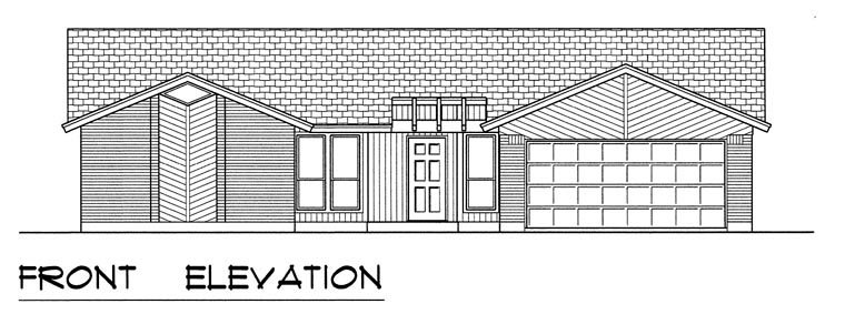 Contemporary House Plan 60828 with 3 Beds, 2 Baths, 2 Car Garage Picture 3