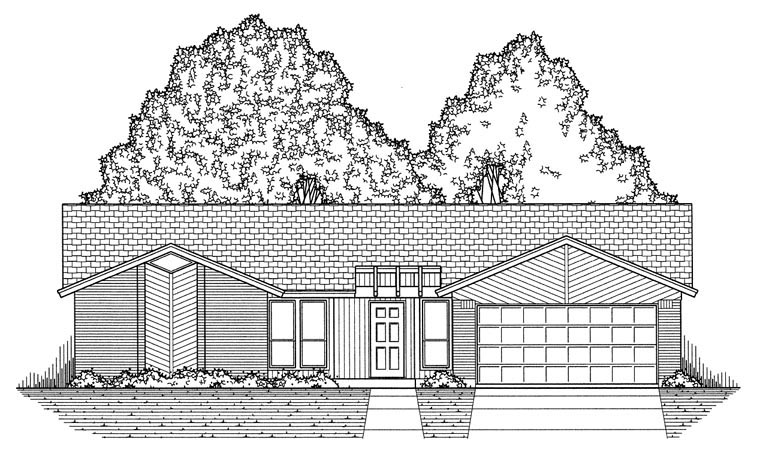 Contemporary House Plan 60828 with 3 Beds, 2 Baths, 2 Car Garage Picture 4