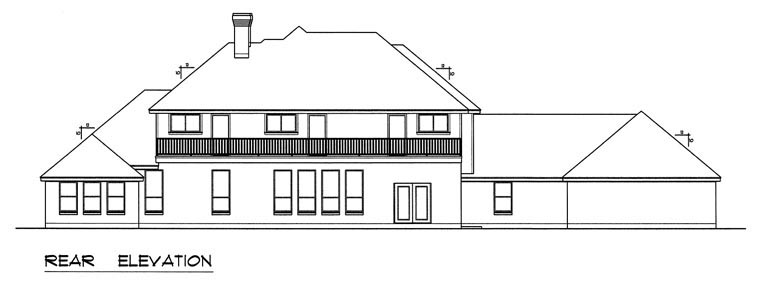European, Traditional House Plan 60831 with 5 Beds, 5 Baths, 3 Car Garage Rear Elevation