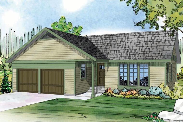 Contemporary, Country, Ranch House Plan 60950 with 3 Beds, 2 Baths, 2 Car Garage Elevation