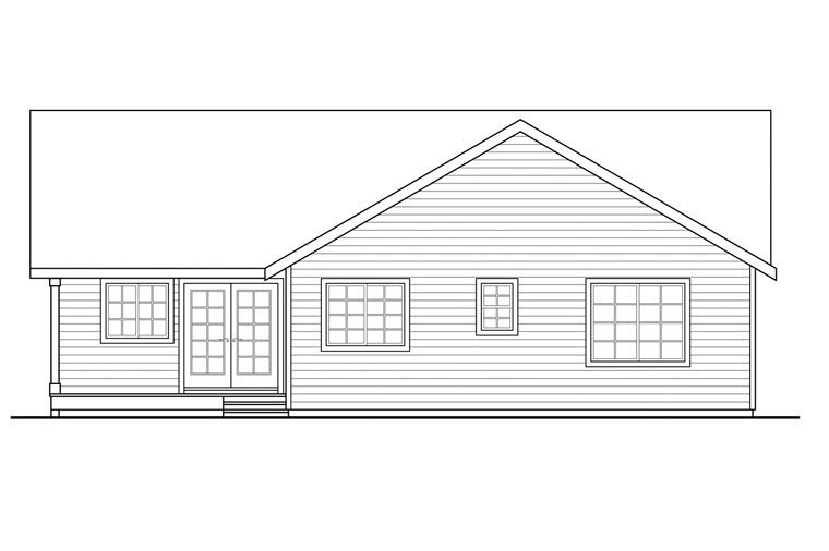 Contemporary, Country, Ranch House Plan 60950 with 3 Beds, 2 Baths, 2 Car Garage Rear Elevation