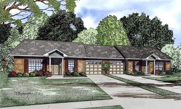 Multi-Family Plan 61090 with 4 Beds, 2 Baths, 2 Car Garage Elevation