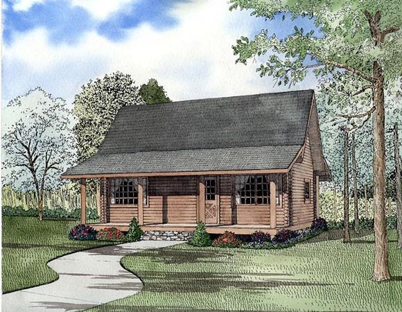 Log House Plan 61147 with 2 Beds, 1 Baths Elevation