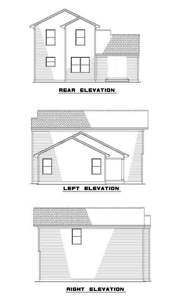 Traditional House Plan 61213 with 3 Beds, 3 Baths, 2 Car Garage Rear Elevation
