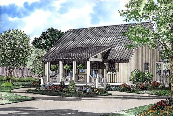 Country, Narrow Lot House Plan 61221 with 4 Beds, 2 Baths, 2 Car Garage Elevation