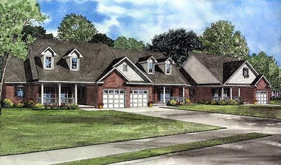 Country, One-Story Multi-Family Plan 61227 with 5 Beds, 6 Baths, 3 Car Garage Elevation