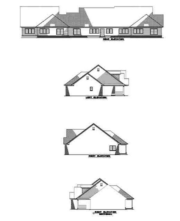 Country, One-Story Multi-Family Plan 61227 with 5 Beds, 6 Baths, 3 Car Garage Rear Elevation