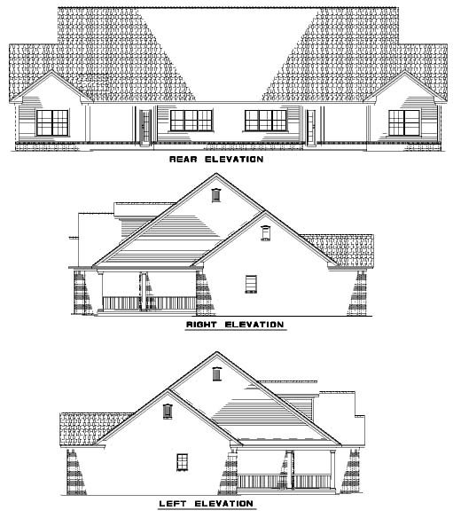 Country, One-Story Multi-Family Plan 61229 with 4 Beds, 4 Baths, 2 Car Garage Rear Elevation