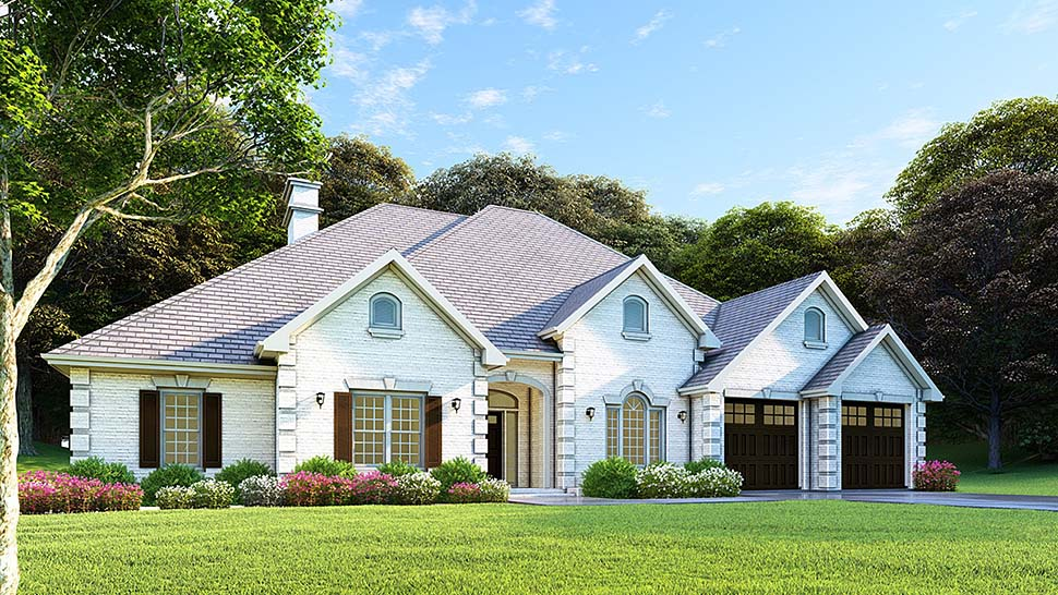 Traditional House Plan 61271 with 4 Beds, 3 Baths, 2 Car Garage Elevation