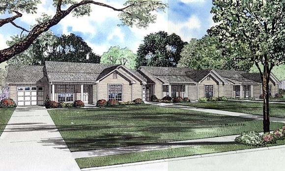One-Story, Ranch Multi-Family Plan 61276 with 9 Beds, 6 Baths, 3 Car Garage Elevation