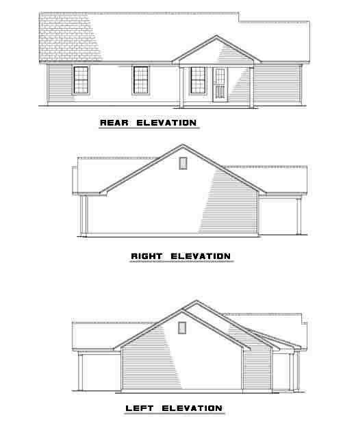 One-Story, Ranch Multi-Family Plan 61276 with 9 Beds, 6 Baths, 3 Car Garage Rear Elevation