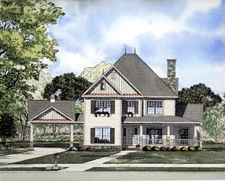 Victorian House Plan 61299 with 5 Beds, 4 Baths, 2 Car Garage Elevation