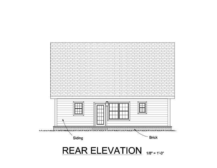 Cape Cod, Country House Plan 61403 with 4 Beds, 4 Baths Rear Elevation