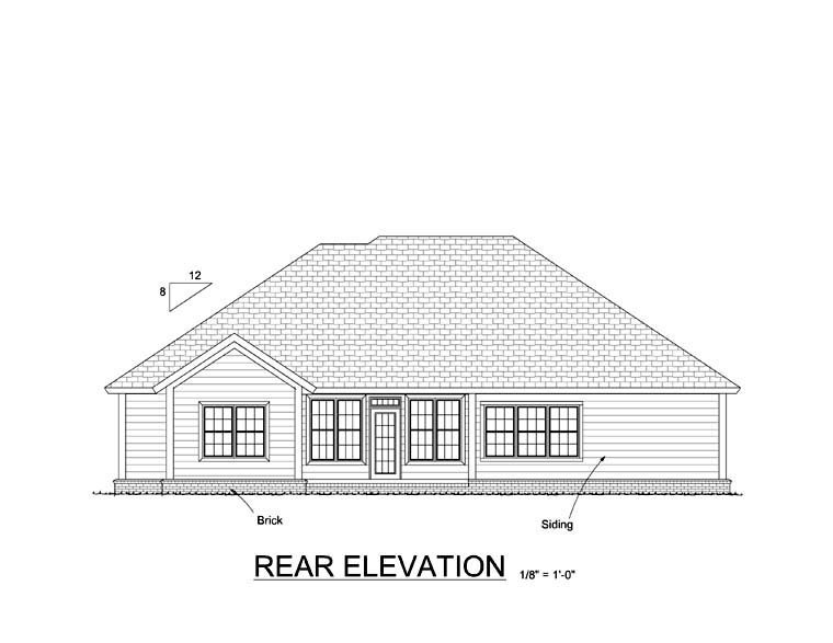 Traditional House Plan 61417 with 5 Beds, 3 Baths, 2 Car Garage Rear Elevation