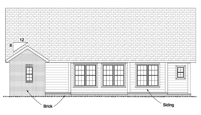 Craftsman, Traditional House Plan 61421 with 5 Beds, 4 Baths, 2 Car Garage Rear Elevation