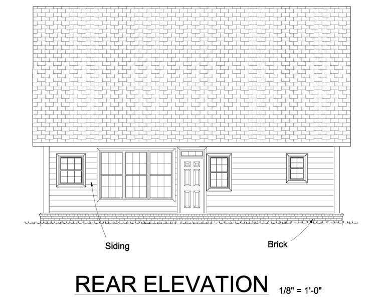 Cape Cod, Country, Southern, Traditional House Plan 61443 with 3 Beds, 3 Baths Rear Elevation
