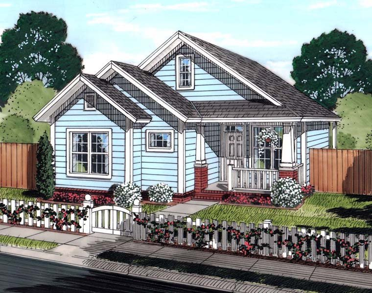 Cottage, Traditional House Plan 61448 with 3 Beds, 2 Baths Elevation