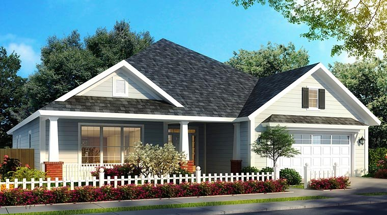Bungalow, Country, Traditional House Plan 61472 with 4 Beds, 4 Baths, 2 Car Garage Elevation