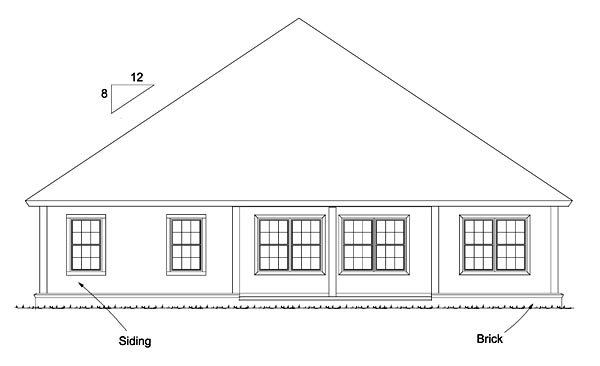 Bungalow, Country, Traditional House Plan 61472 with 4 Beds, 4 Baths, 2 Car Garage Rear Elevation