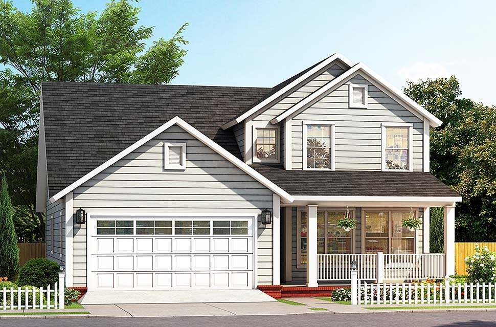 Cottage, Traditional House Plan 61487 with 3 Beds, 4 Baths, 2 Car Garage Elevation