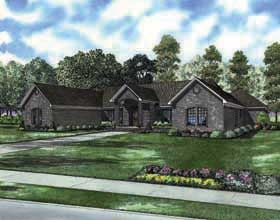 European, One-Story, Traditional House Plan 62161 with 3 Beds, 3 Baths, 3 Car Garage Elevation