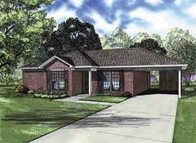 One-Story, Ranch, Traditional House Plan 62162 with 2 Beds, 2 Baths, 2 Car Garage Elevation