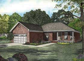 One-Story, Ranch, Traditional House Plan 62164 with 3 Beds, 2 Baths, 2 Car Garage Elevation