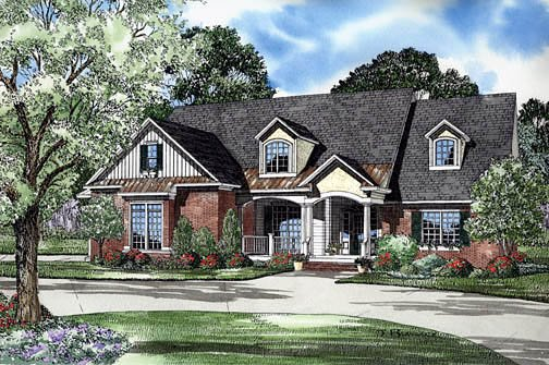 Craftsman, Traditional House Plan 62249 with 5 Beds, 4 Baths, 2 Car Garage Elevation
