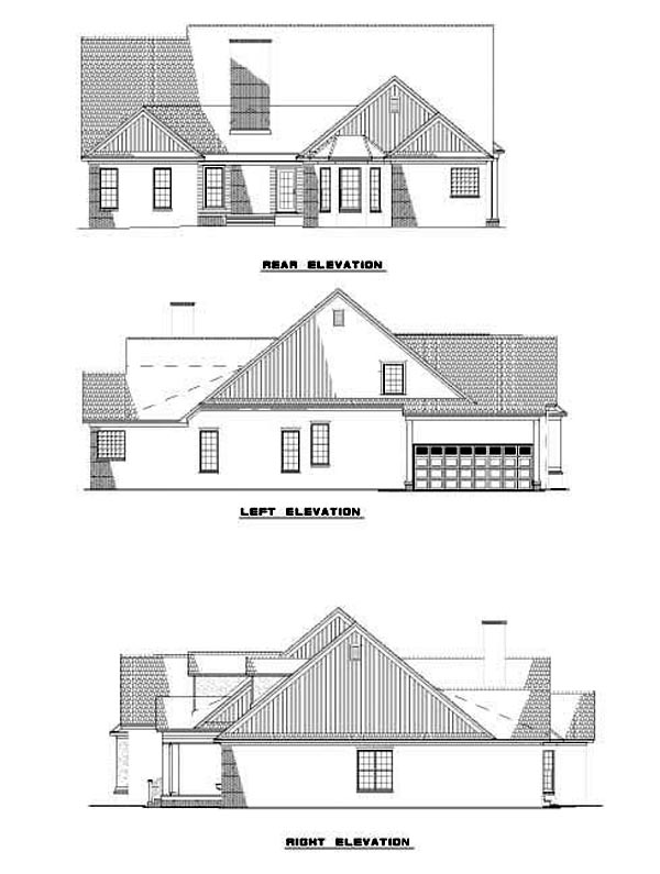 Craftsman, Traditional House Plan 62249 with 5 Beds, 4 Baths, 2 Car Garage Rear Elevation