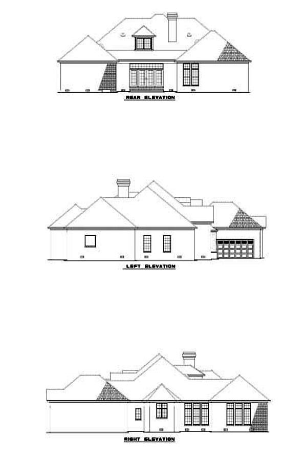 House Plan 62274 with 4 Beds, 5 Baths, 2 Car Garage Rear Elevation