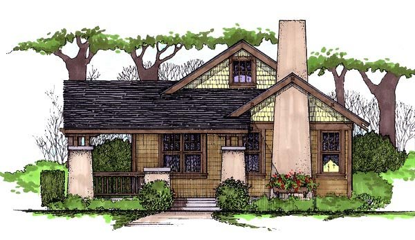 Craftsman House Plan 62401 with 3 Beds, 2 Baths Elevation