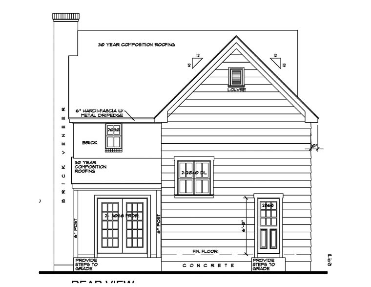 House Plan 62403 with 3 Beds, 3 Baths Rear Elevation