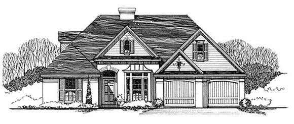 Traditional House Plan 62404 with 3 Beds, 2 Baths Elevation