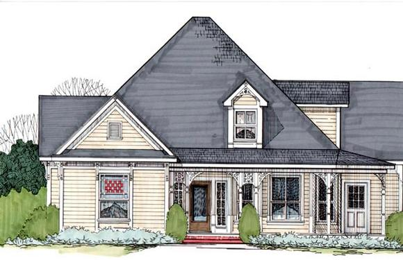 Victorian House Plan 62405 with 3 Beds, 2 Baths Elevation