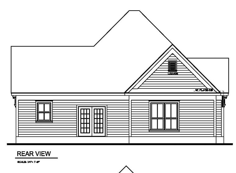 Victorian House Plan 62405 with 3 Beds, 2 Baths Rear Elevation