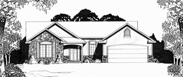 European, One-Story House Plan 62549 with 2 Beds, 2 Baths, 2 Car Garage Elevation