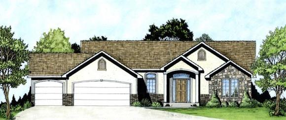 European, One-Story House Plan 62554 with 3 Beds, 2 Baths, 3 Car Garage Elevation