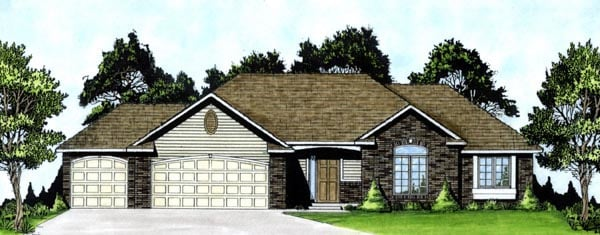 Traditional House Plan 62580 with 3 Beds, 3 Baths, 3 Car Garage Elevation