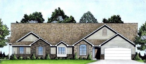 One-Story, Traditional Multi-Family Plan 62603 with 4 Beds, 4 Baths, 4 Car Garage Elevation