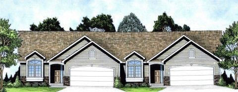 Ranch, Traditional Multi-Family Plan 62626 with 4 Beds, 4 Baths, 4 Car Garage Elevation