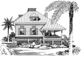 Coastal House Plan 63110 with 3 Beds, 2 Baths Elevation