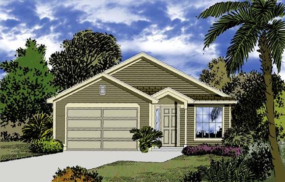 Florida, Traditional House Plan 63137 with 3 Beds, 2 Baths, 2 Car Garage Elevation