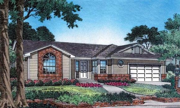Country, Farmhouse, One-Story, Traditional House Plan 63180 with 3 Beds, 2 Baths, 2 Car Garage Elevation