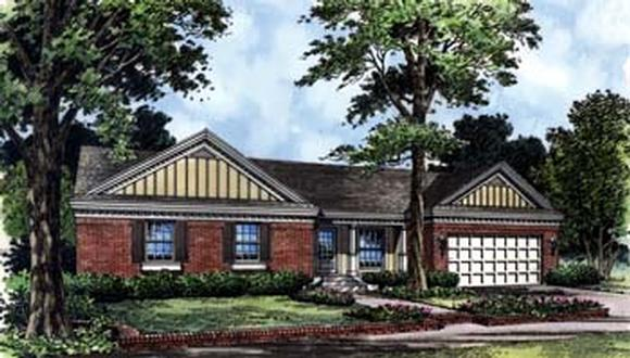 Country, Farmhouse, Florida, One-Story, Traditional House Plan 63193 with 3 Beds, 2 Baths, 2 Car Garage Elevation