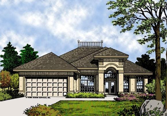 Contemporary, Florida, Mediterranean, Narrow Lot, One-Story House Plan 63198 with 3 Beds, 2 Baths, 2 Car Garage Elevation
