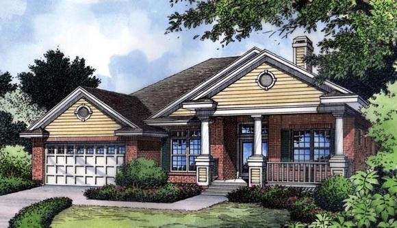Country, Craftsman, Florida, Narrow Lot, One-Story, Traditional House Plan 63199 with 3 Beds, 2 Baths, 2 Car Garage Elevation