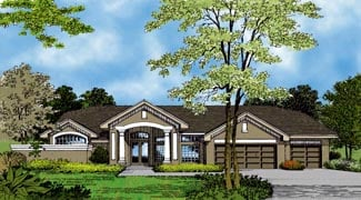 Contemporary, Florida, Mediterranean, One-Story House Plan 63335 with 4 Beds, 4 Baths, 3 Car Garage Elevation