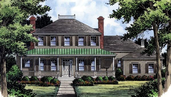 Colonial, Southern, Traditional House Plan 63360 with 4 Beds, 5 Baths, 3 Car Garage Elevation