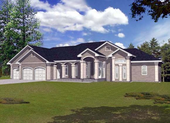 European House Plan 63544 with 4 Beds, 3 Baths, 3 Car Garage Elevation
